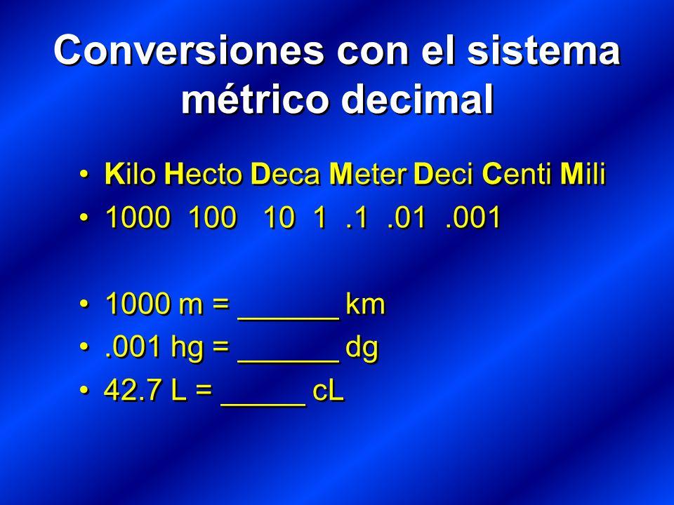 Kilo Hecto Deca Meter Deci Centi Mili 1000 100 10 1.1.01.001 1000 m = ______ km.001 hg = ______ dg 42.7 L = _____ cL Kilo Hecto Deca Meter Deci Centi Mili 1000 100 10 1.1.01.001 1000 m = ______ km.001 hg = ______ dg 42.7 L = _____ cL Conversiones con el sistema métrico decimal