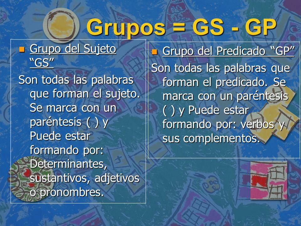 Grupos = GS - GP n Grupo del Sujeto GS Son todas las palabras que forman el sujeto. Se marca con un paréntesis ( ) y Puede estar formando por: Determi