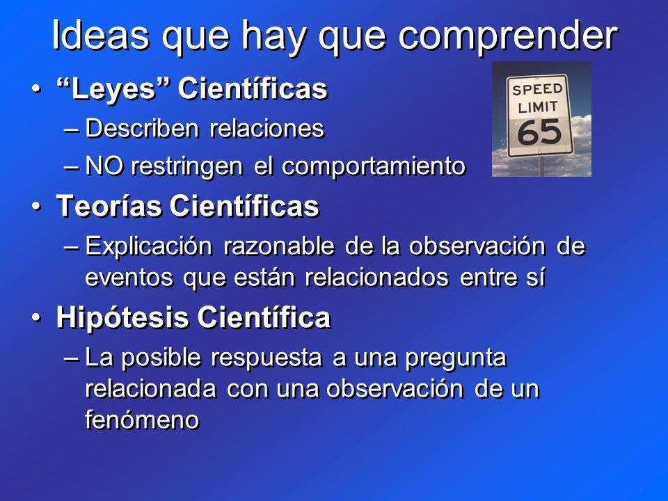 Ideas que hay que comprender Leyes Científicas –Describen relaciones –NO restringen el comportamiento Teorías Científicas –Explicación razonable de la