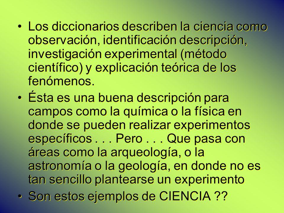 Los diccionarios describen la ciencia como observación, identificación descripción, investigación experimental (método científico) y explicación teóri