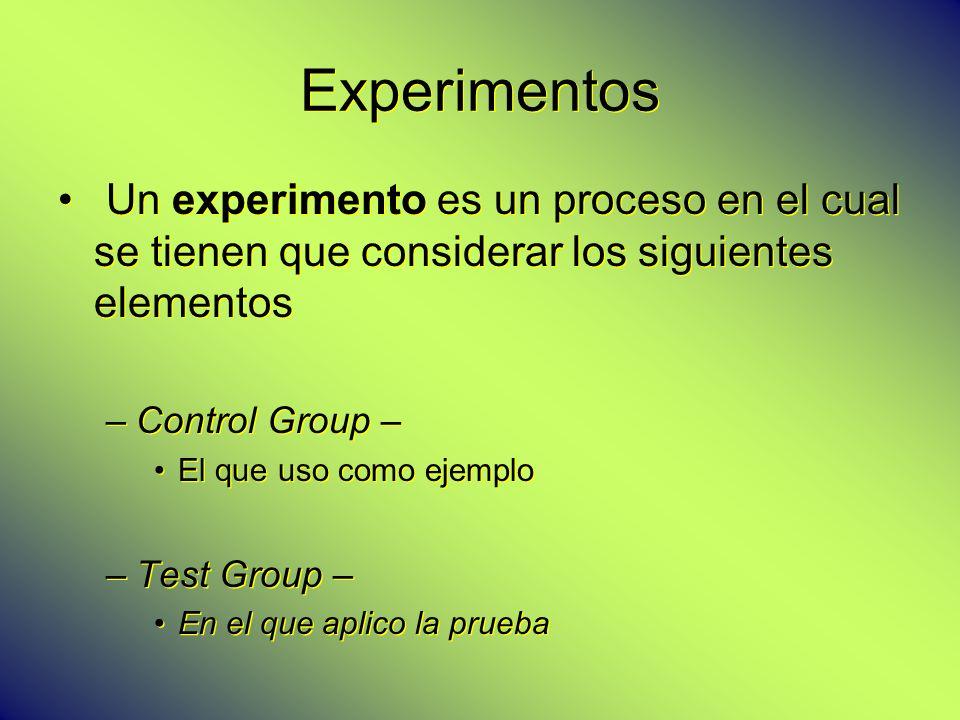 Experimentos Un experimento es un proceso en el cual se tienen que considerar los siguientes elementos –Control Group – El que uso como ejemplo –Test