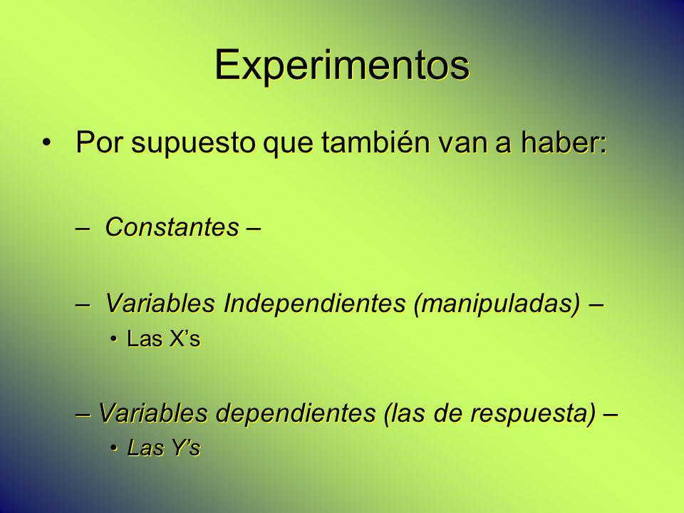 Experimentos Por supuesto que también van a haber: – Constantes – – Variables Independientes (manipuladas) – Las Xs –Variables dependientes (las de re