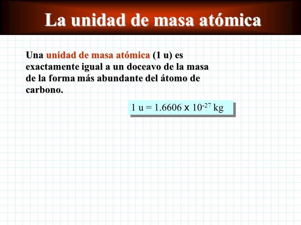 La unidad de masa atómica Una unidad de masa atómica (1 u) es exactamente igual a un doceavo de la masa de la forma más abundante del átomo de carbono.