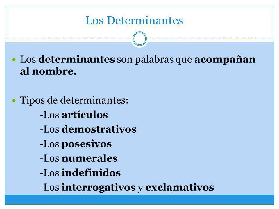 Los Determinantes Los determinantes son palabras que acompañan al nombre. Tipos de determinantes: -Los artículos -Los demostrativos -Los posesivos -Lo