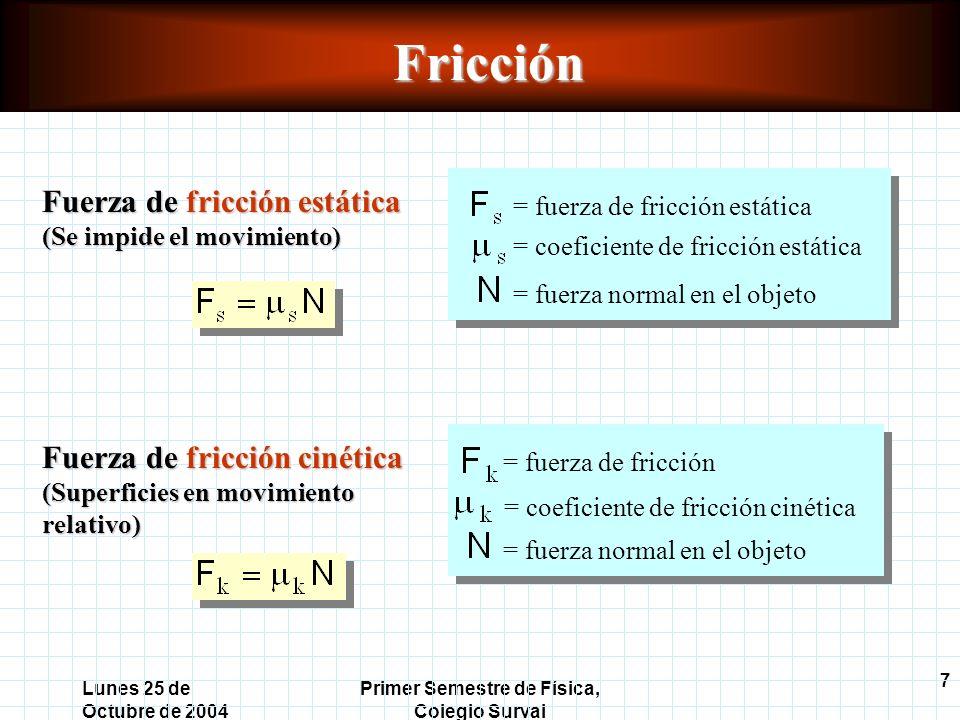 7 Lunes 25 de Octubre de 2004 Primer Semestre de Física, Colegio SurvalFricción Fuerza de fricción estática (Se impide el movimiento) = fuerza de fricción estática = coeficiente de fricción estática = fuerza normal en el objeto Fuerza de fricción cinética (Superficies en movimiento relativo) = fuerza de fricción = coeficiente de fricción cinética = fuerza normal en el objeto