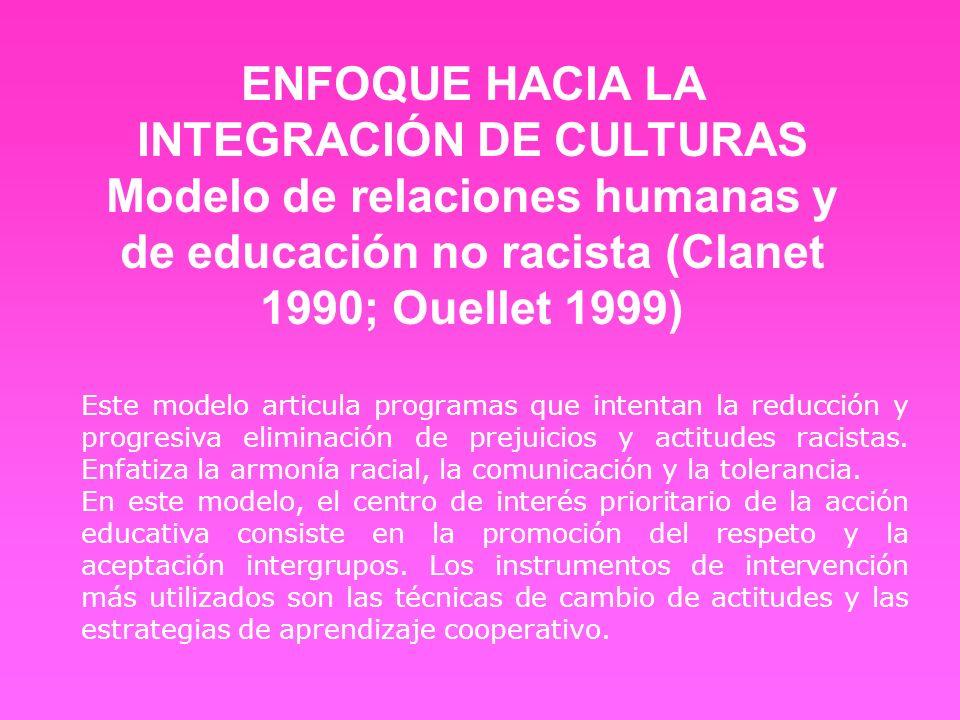 Este modelo articula programas que intentan la reducción y progresiva eliminación de prejuicios y actitudes racistas. Enfatiza la armonía racial, la c