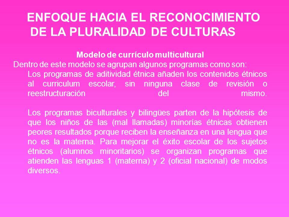 Modelo de currículo multicultural Dentro de este modelo se agrupan algunos programas como son: Los programas de aditividad étnica añaden los contenido