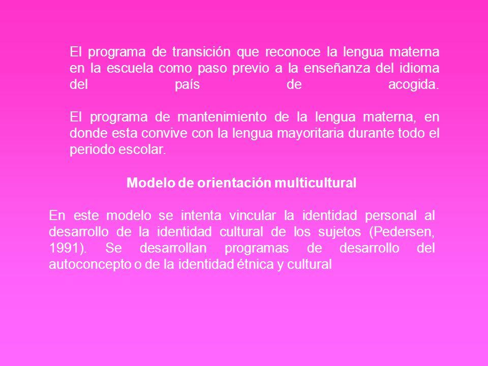 Modelo de pluralismo cultural Según éste modelo, la escuela debe promover las identificaciones y pertenencias étnicas, los programas escolares deben atender a los estilos de aprendizaje de los grupos étnicos y a los contenidos culturales específicos, se deben organizar cursos específicos de estudios étnicos e incluso establecer escuelas étnicas propias que mantengan las culturas y tradiciones.