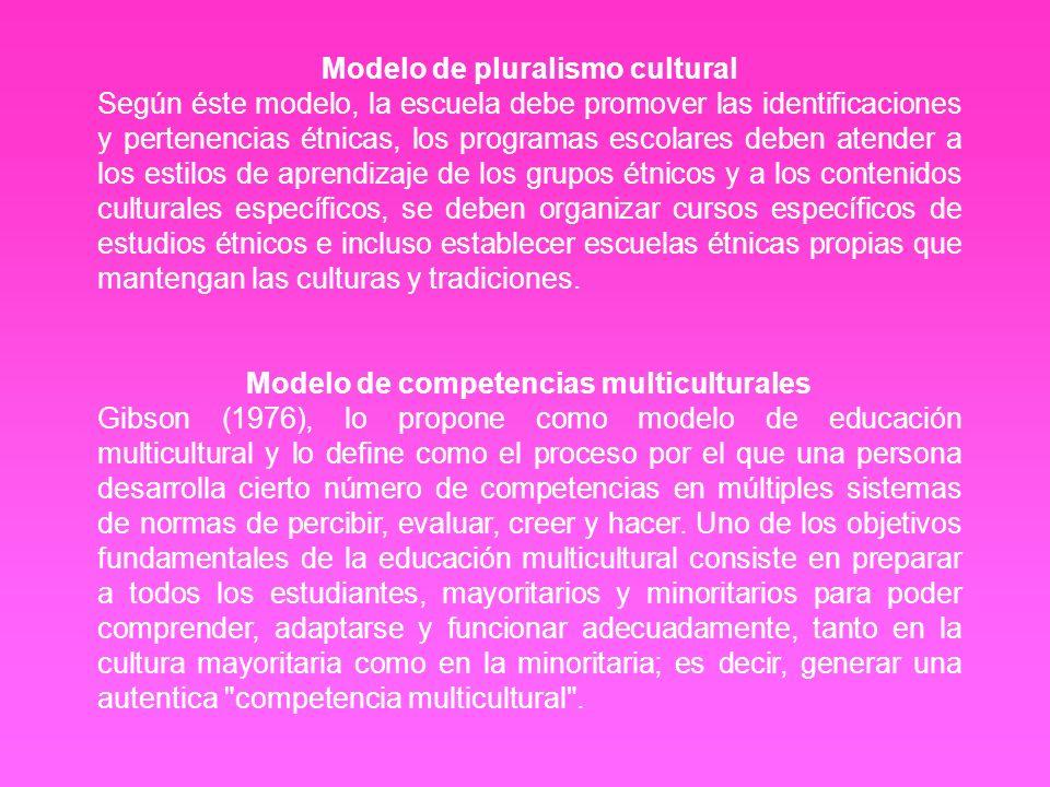 Modelo de pluralismo cultural Según éste modelo, la escuela debe promover las identificaciones y pertenencias étnicas, los programas escolares deben a