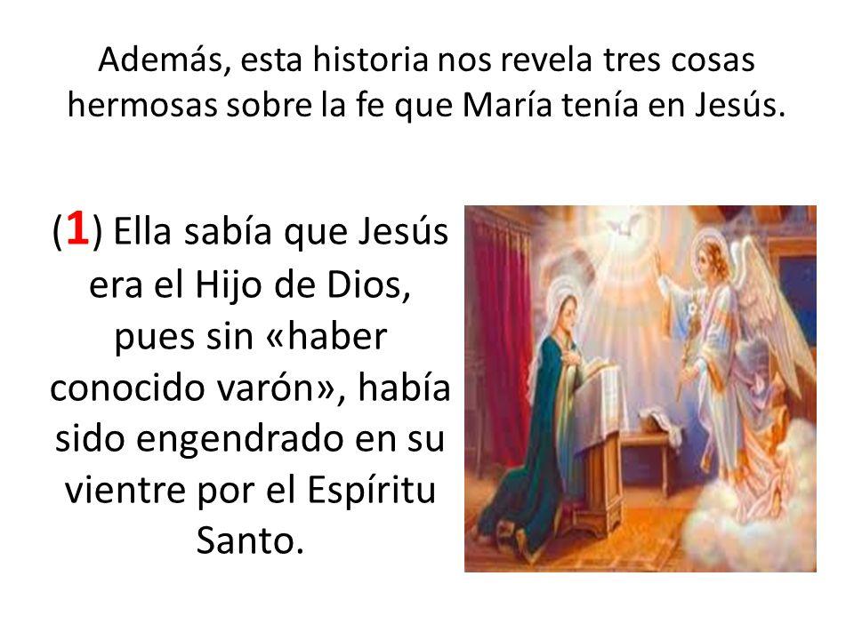 Además, esta historia nos revela tres cosas hermosas sobre la fe que María tenía en Jesús. ( 1 ) Ella sabía que Jesús era el Hijo de Dios, pues sin «h