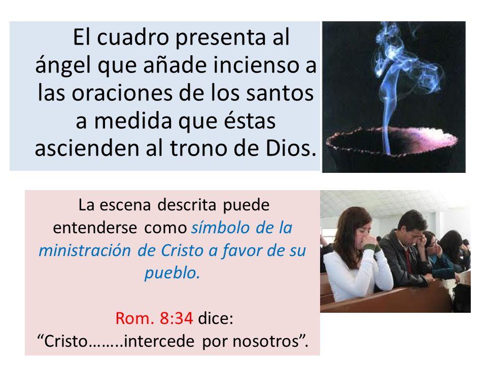 El cuadro presenta al ángel que añade incienso a las oraciones de los santos a medida que éstas ascienden al trono de Dios. La escena descrita puede e