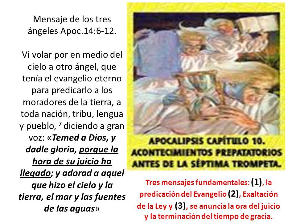 Mensaje de los tres ángeles Apoc.14:6-12. Vi volar por en medio del cielo a otro ángel, que tenía el evangelio eterno para predicarlo a los moradores