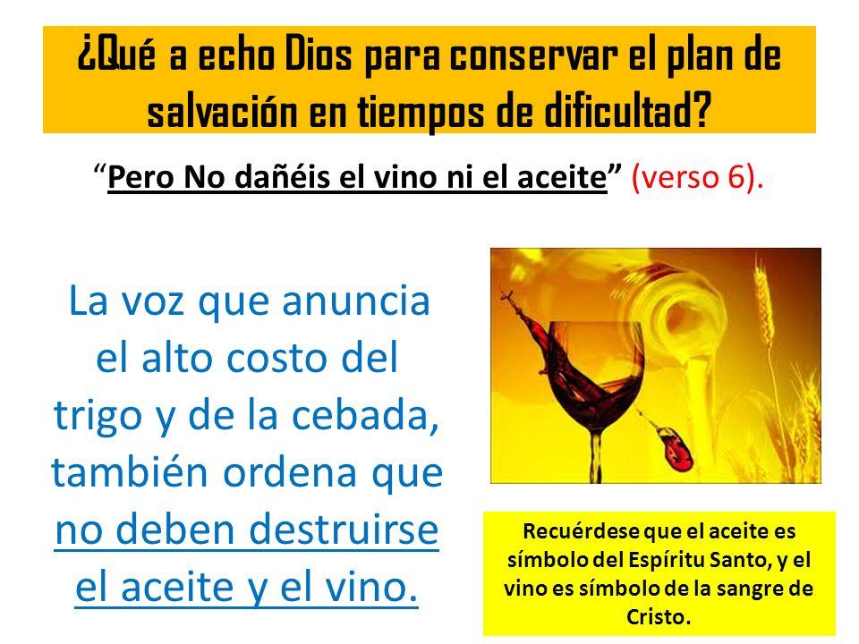 ¿Qué a echo Dios para conservar el plan de salvación en tiempos de dificultad? Pero No dañéis el vino ni el aceite (verso 6). La voz que anuncia el al