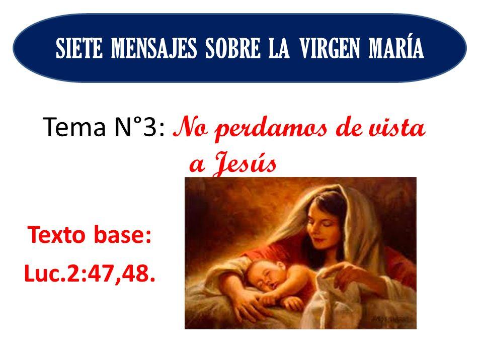 Tema N°3: No perdamos de vista a Jesús Texto base: Luc.2:47,48. SIETE MENSAJES SOBRE LA VIRGEN MARÍA