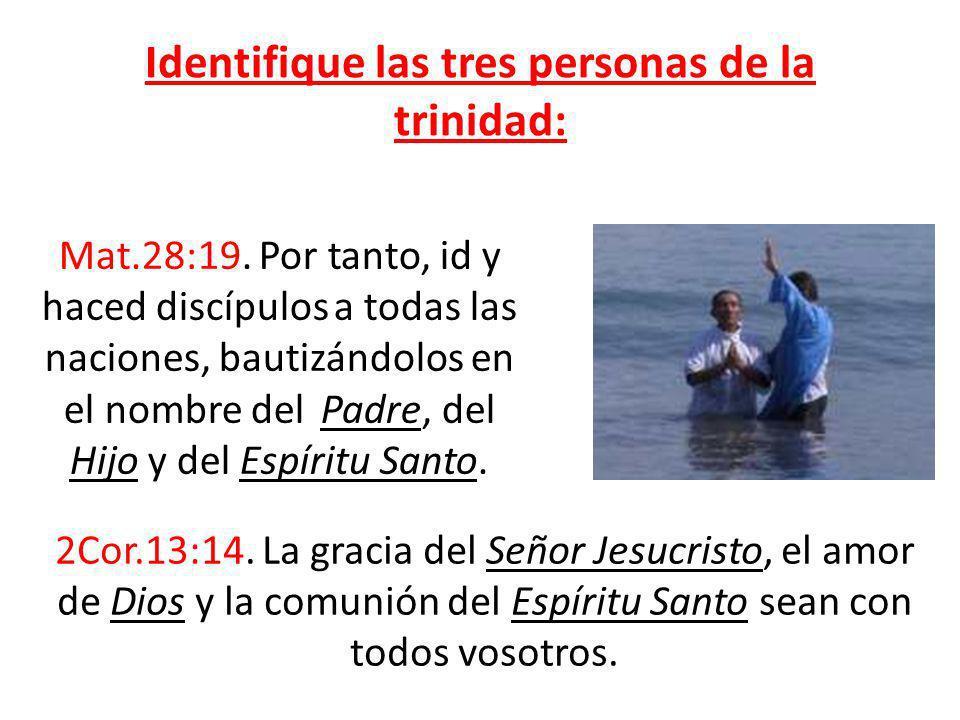 Identifique las tres personas de la trinidad: Mat.28:19. Por tanto, id y haced discípulos a todas las naciones, bautizándolos en el nombre del Padre,