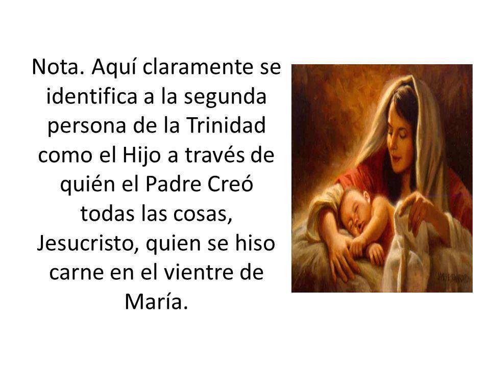 Nota. Aquí claramente se identifica a la segunda persona de la Trinidad como el Hijo a través de quién el Padre Creó todas las cosas, Jesucristo, quie