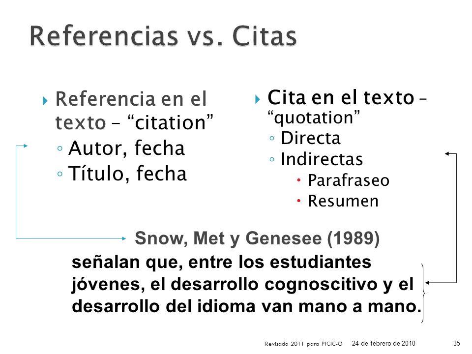 Cita en el texto – quotation Directa Indirectas Parafraseo Resumen Referencia en el texto – citation Autor, fecha Título, fecha 24 de febrero de 2010
