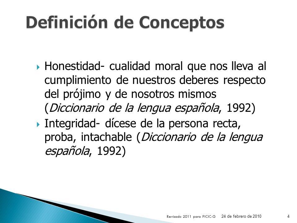 Honestidad- cualidad moral que nos lleva al cumplimiento de nuestros deberes respecto del prójimo y de nosotros mismos (Diccionario de la lengua españ