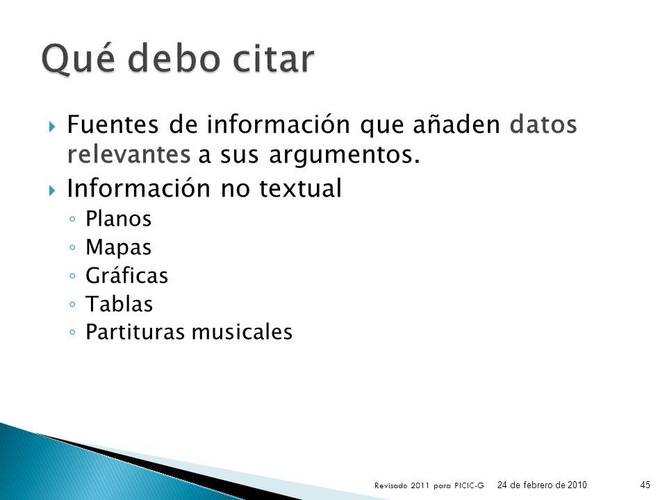 Fuentes de información que añaden datos relevantes a sus argumentos. Información no textual Planos Mapas Gráficas Tablas Partituras musicales 24 de fe