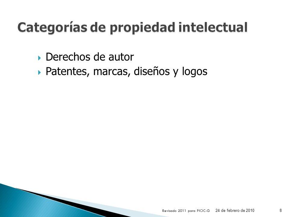 Derechos de autor Patentes, marcas, diseños y logos 24 de febrero de 2010 Revisado 2011 para PICIC-G 8