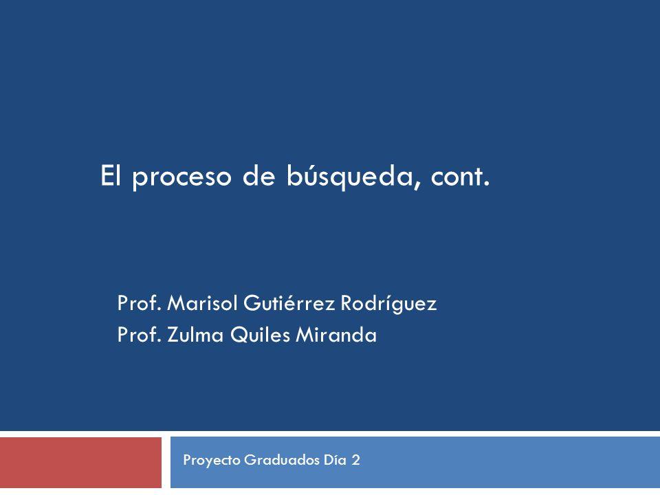 El proceso de búsqueda, cont. Prof. Marisol Gutiérrez Rodríguez Prof.