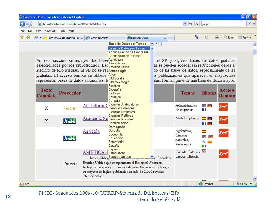 PICIC-Graduados 2009-10/ UPRRP-Sistema de Bibliotecas/ Bib. Gerardo Sellés Solá 18