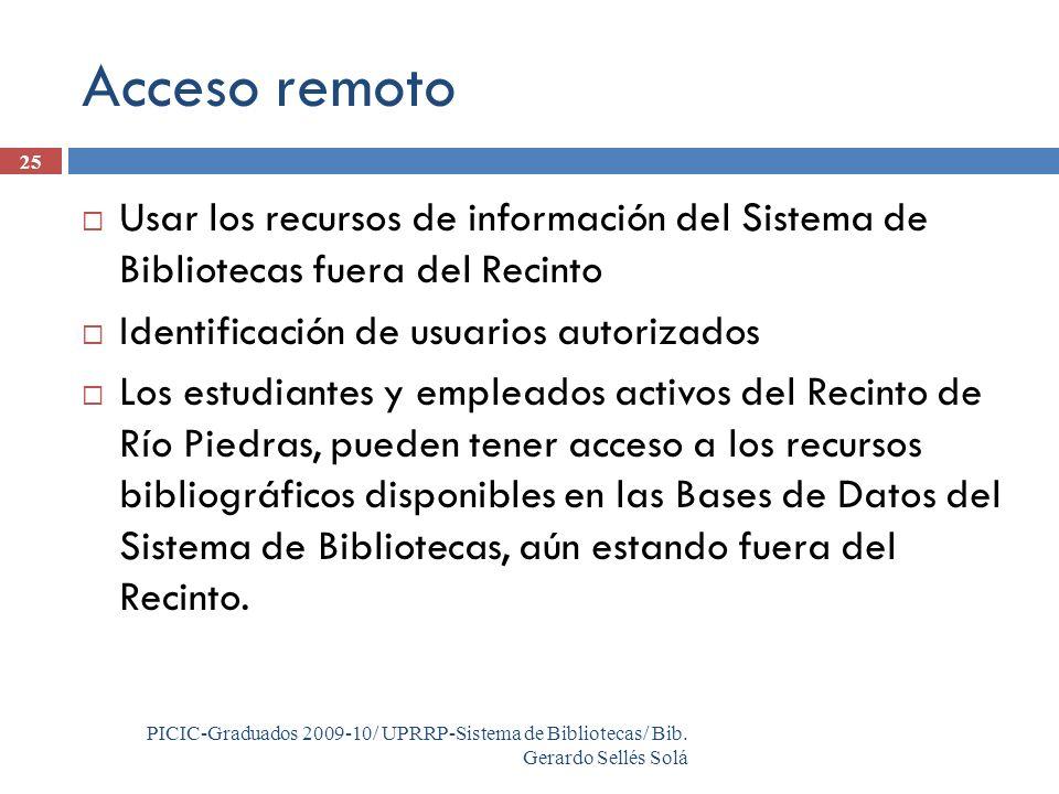 PICIC-Graduados 2009-10/ UPRRP-Sistema de Bibliotecas/ Bib.