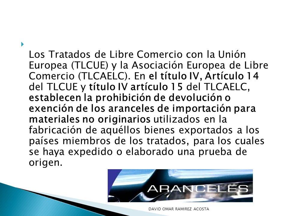 Los Tratados de Libre Comercio con la Unión Europea (TLCUE) y la Asociación Europea de Libre Comercio (TLCAELC). En el título IV, Artículo 14 del TLCU