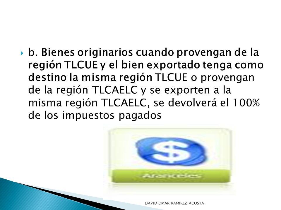 b. Bienes originarios cuando provengan de la región TLCUE y el bien exportado tenga como destino la misma región TLCUE o provengan de la región TLCAEL