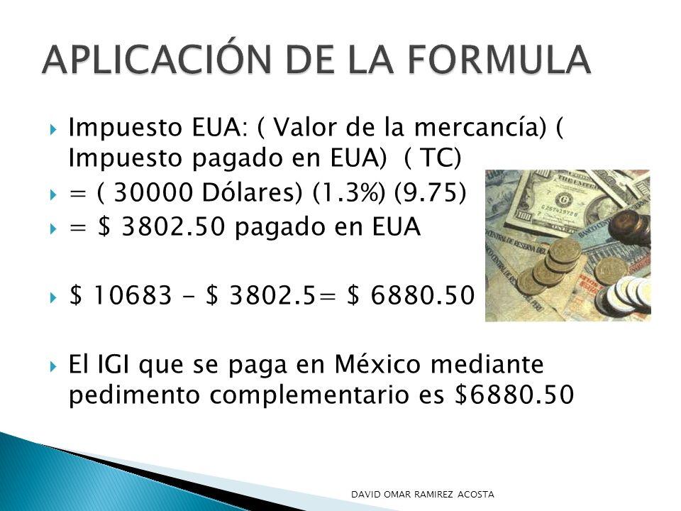 Impuesto EUA: ( Valor de la mercancía) ( Impuesto pagado en EUA) ( TC) = ( 30000 Dólares) (1.3%) (9.75) = $ 3802.50 pagado en EUA $ 10683 - $ 3802.5=