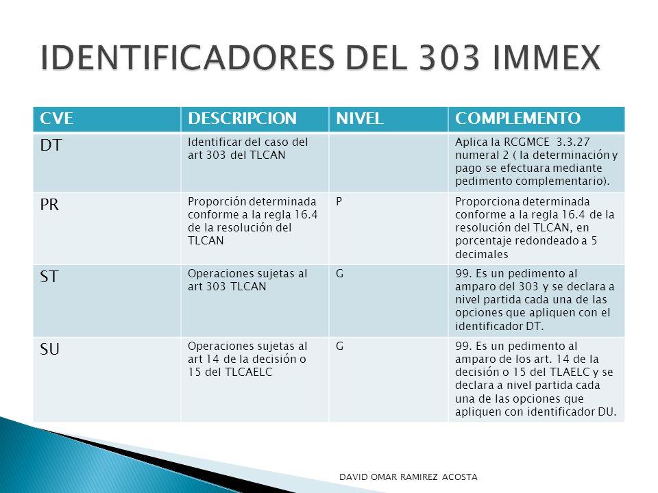CVEDESCRIPCIONNIVELCOMPLEMENTO DT Identificar del caso del art 303 del TLCAN Aplica la RCGMCE 3.3.27 numeral 2 ( la determinación y pago se efectuara