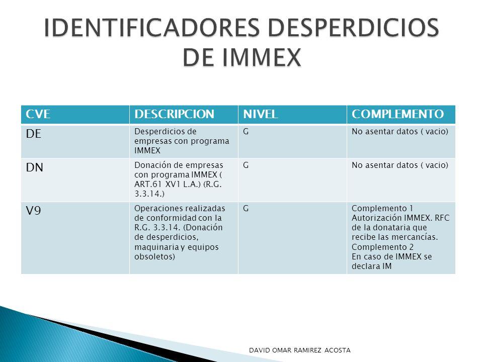 CVEDESCRIPCIONNIVELCOMPLEMENTO DE Desperdicios de empresas con programa IMMEX GNo asentar datos ( vacio) DN Donación de empresas con programa IMMEX (