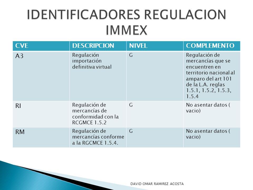 CVEDESCRIPCIONNIVELCOMPLEMENTO A3 Regulación importación definitiva virtual GRegulación de mercancías que se encuentren en territorio nacional al ampa
