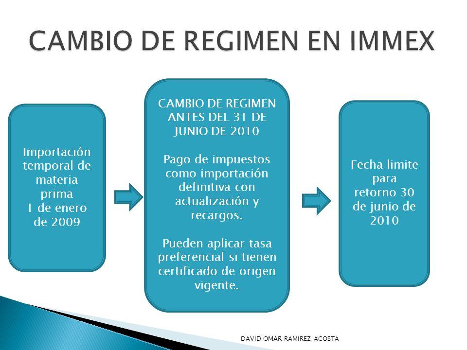 Importación temporal de materia prima 1 de enero de 2009 CAMBIO DE REGIMEN ANTES DEL 31 DE JUNIO DE 2010 Pago de impuestos como importación definitiva