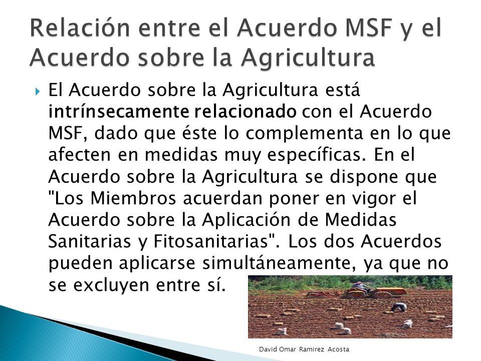 El Acuerdo sobre la Agricultura está intrínsecamente relacionado con el Acuerdo MSF, dado que éste lo complementa en lo que afecten en medidas muy esp
