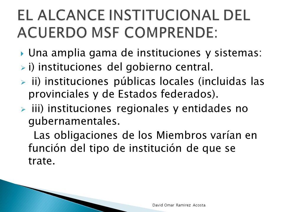Una amplia gama de instituciones y sistemas: i) instituciones del gobierno central. ii) instituciones públicas locales (incluidas las provinciales y d