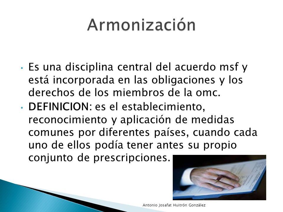 Es una disciplina central del acuerdo msf y está incorporada en las obligaciones y los derechos de los miembros de la omc. DEFINICION: es el estableci