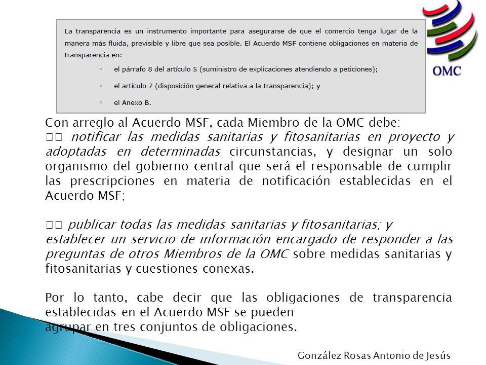Con arreglo al Acuerdo MSF, cada Miembro de la OMC debe: notificar las medidas sanitarias y fitosanitarias en proyecto y adoptadas en determinadas cir