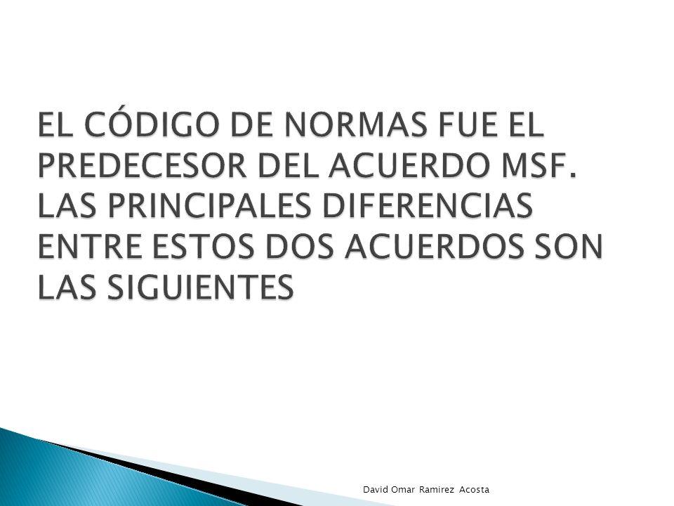 El Código de Normas era un acuerdo plurilateral, con 46 signatarios en 1994 y un mecanismo de solución de diferencias específico, que abarcaba los Obstáculos Técnicos al Comercio (OTC) y algunas medidas sanitarias y fitosanitarias y se aplicaba a todos los productos.