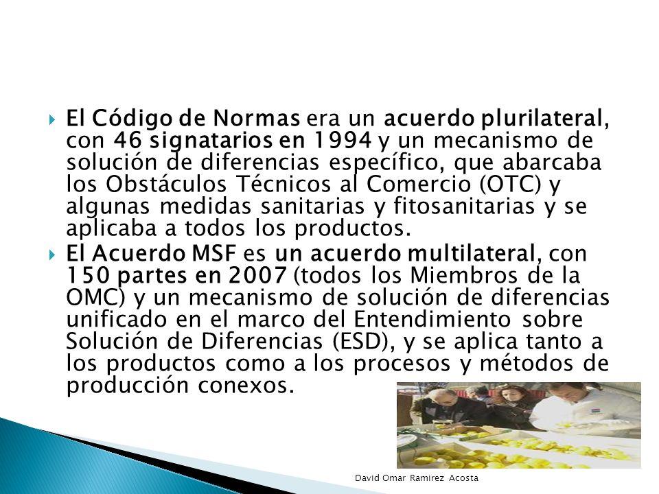 El Código de Normas era un acuerdo plurilateral, con 46 signatarios en 1994 y un mecanismo de solución de diferencias específico, que abarcaba los Obs