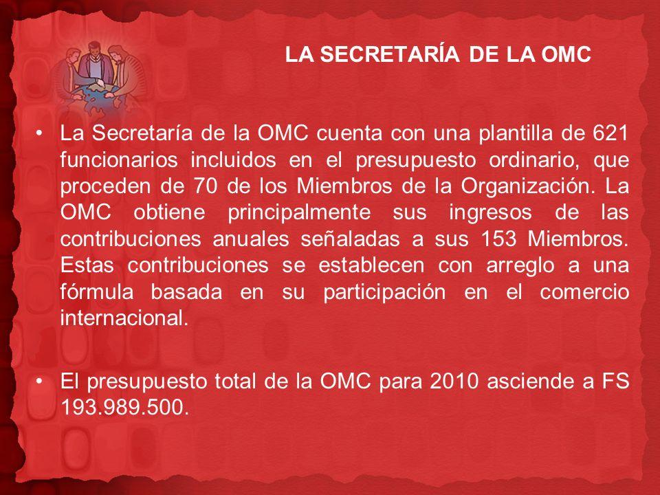 LA SECRETARÍA DE LA OMC La Secretaría de la OMC cuenta con una plantilla de 621 funcionarios incluidos en el presupuesto ordinario, que proceden de 70