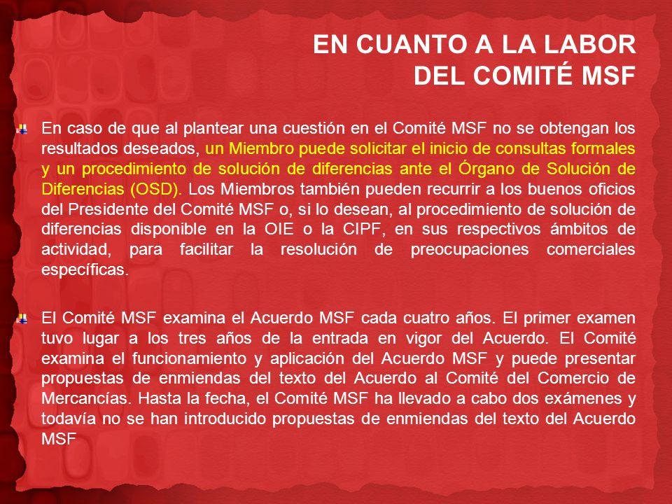En caso de que al plantear una cuestión en el Comité MSF no se obtengan los resultados deseados, un Miembro puede solicitar el inicio de consultas for