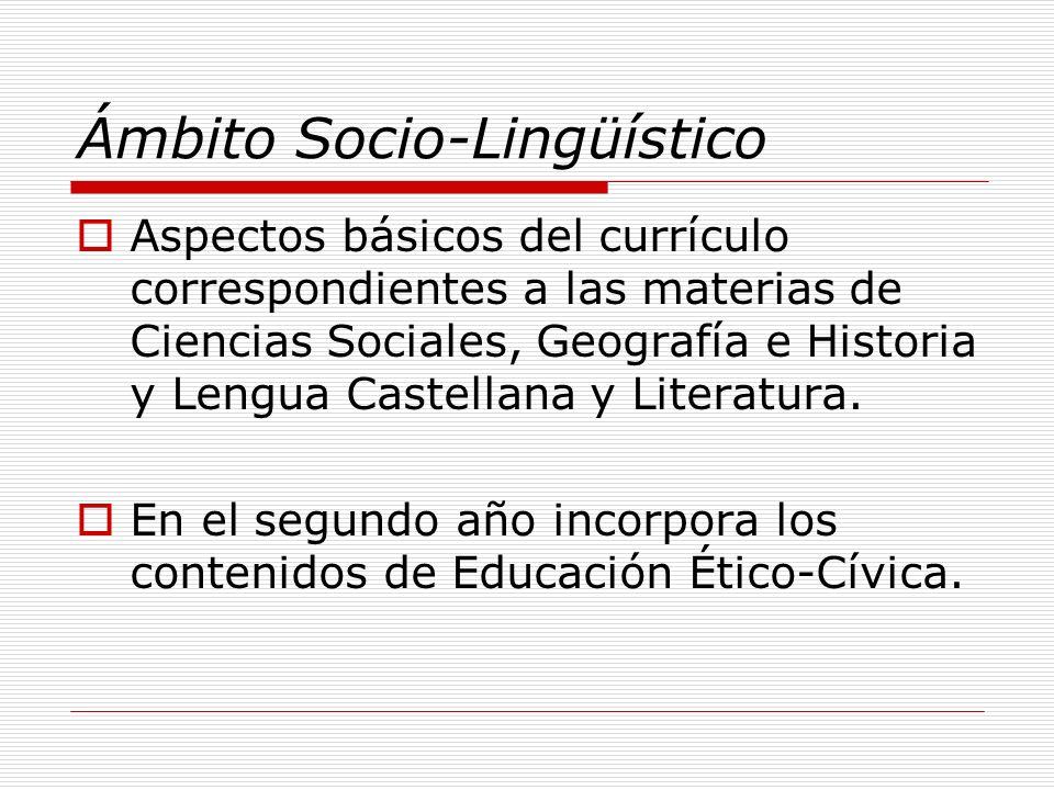 Ámbito Socio-Lingüístico Aspectos básicos del currículo correspondientes a las materias de Ciencias Sociales, Geografía e Historia y Lengua Castellana