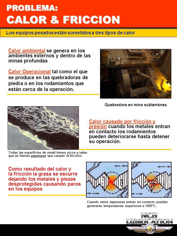G2 PROBLEMA: CALOR & FRICCION Cuando estos asperezas entran en contacto pueden generarse temperaturas superiores a 1000°C. Los equipos pesados están s