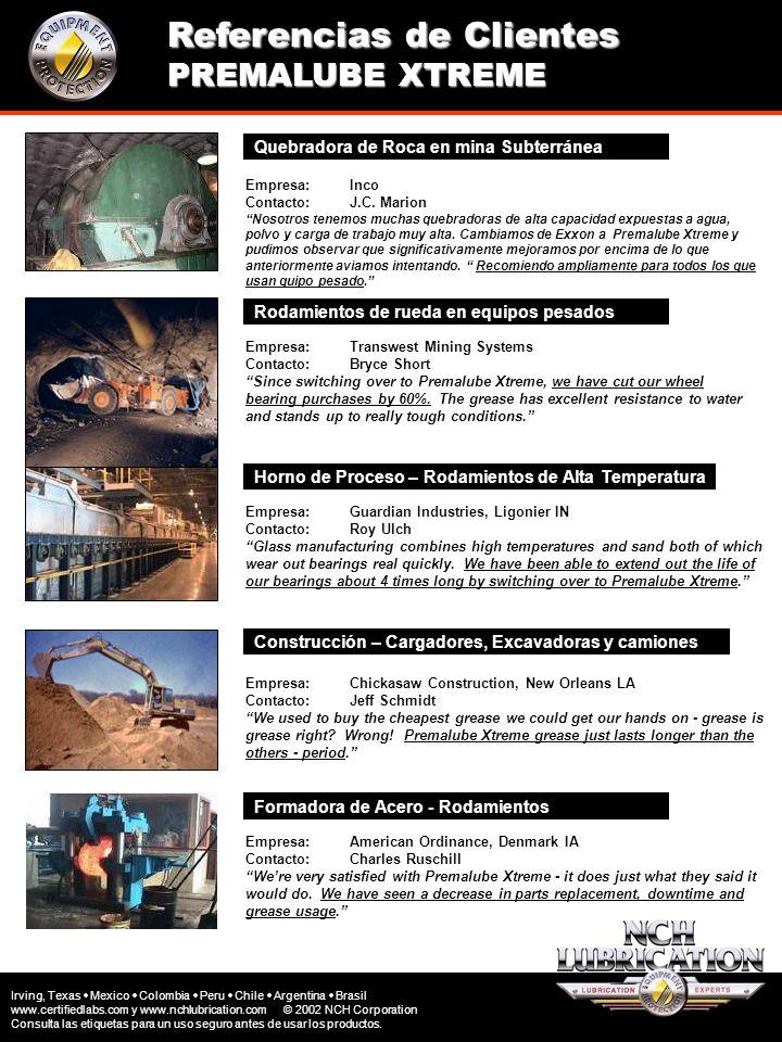 Referencias de Clientes PREMALUBE XTREME Quebradora de Roca en mina Subterránea Empresa: Inco Contacto: J.C. Marion Nosotros tenemos muchas quebradora