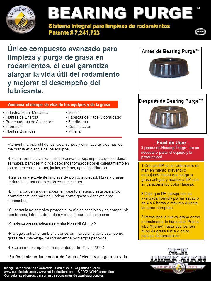BEARING PURGE TM Sistema Integral para limpieza de rodamientos Patente # 7,241,723 Aumenta la vida útil de los rodamientos y chumaceras además de mejo