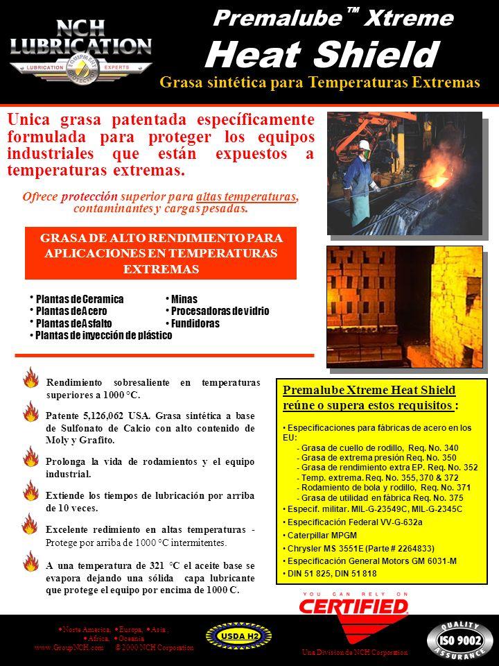 Unica grasa patentada específicamente formulada para proteger los equipos industriales que están expuestos a temperaturas extremas. Ofrece protección