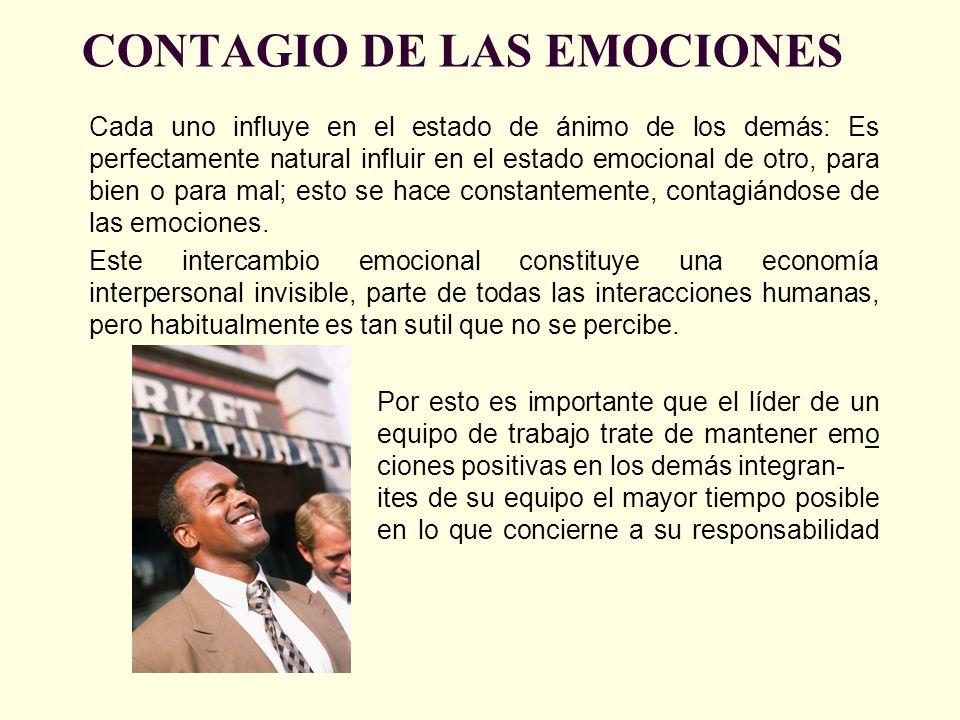 CONTAGIO DE LAS EMOCIONES Cada uno influye en el estado de ánimo de los demás: Es perfectamente natural influir en el estado emocional de otro, para b