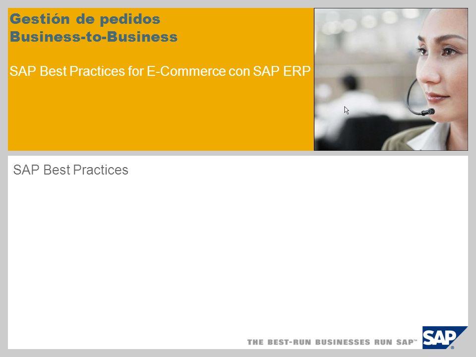 Gestión de pedidos Business-to-Business SAP Best Practices for E-Commerce con SAP ERP SAP Best Practices