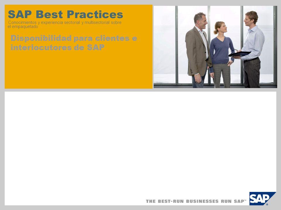 SAP Best Practices Conocimientos y experiencia sectorial y multisectorial sobre el empaquetado Disponibilidad para clientes e interlocutores de SAP